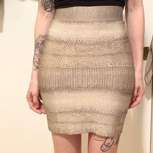 Herve Leger Snake Print Bandage Skirt